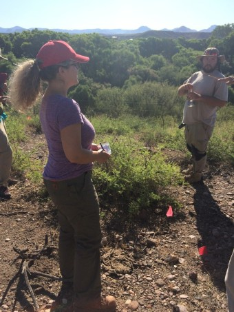 David Barron and I receiving instructions on where to search next for artifacts.