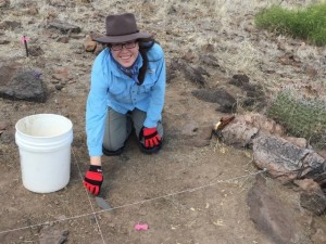 Gabriella Zaragosa beginning excavation on Feature E