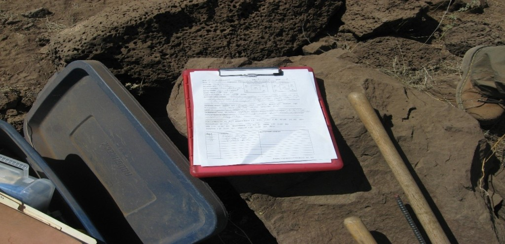 The important unit/level paperwork I filled out. This paperwork keeps the excavation organized and will be a vital piece of the puzzle for compiling the report and for laboratory analysis.