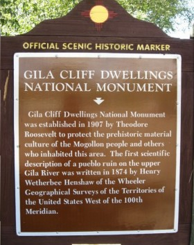 gila cliff dwellings sign