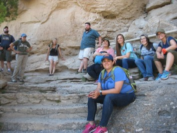 Students taking a breather and admiring the site. (In front: Stephanie Dooley. In back from left to right: David Barron, Lori Barkwill-Love, Mary Whisenhunt, Overton Lesley, Rosa Compean-Molina, Haley Fishbeck, Gabriella Zaragosa, and Megan Brown)