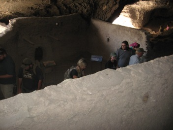 A few of the group checking out a room that actually has remnants of paint on the wall, as well as handprints in the wall mortar where the original inhabitants constructed specific sections of the wall. (In picture from left to right: Overton Lesley, David Barron, Mary Whisenhunt, Kimberly Martin, Robert Gardner, NPS volunteer, and Kristina Solis)