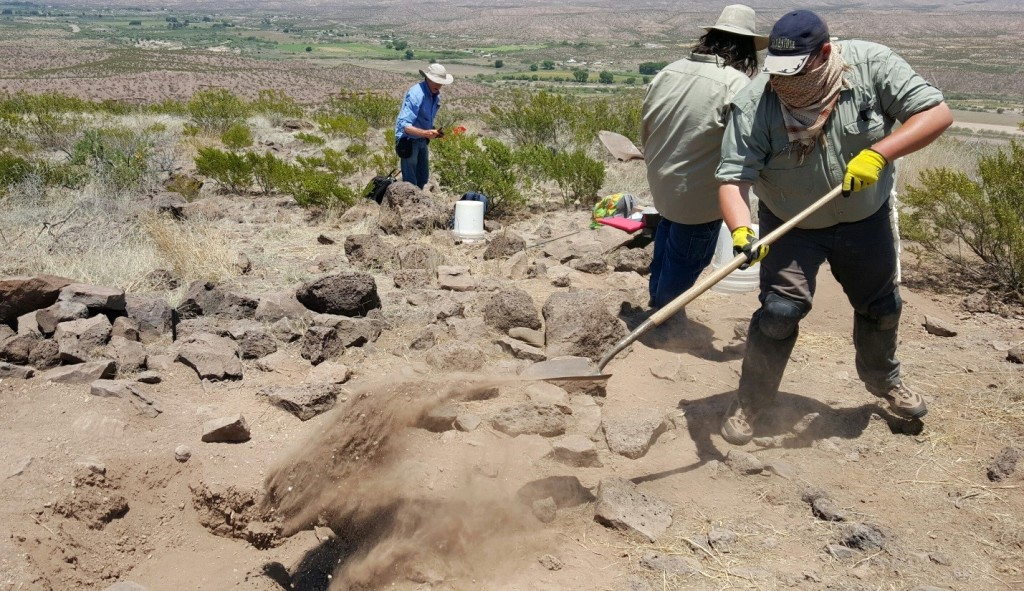 Here I am shoveling dirt back into our unit at the DOT MON site (AZ:CC:4:62 (ASM)), while Dr. Hard (far left) and Robert Gardner (just to the left of me) pick up excavation tools.
