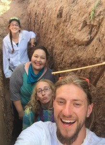 In Dr. Huckleberry's Backhoe Trench: (From front to back: Ian Bates, Kimberly Martin, Rosa Compean-Molina, and Andrea Thomas